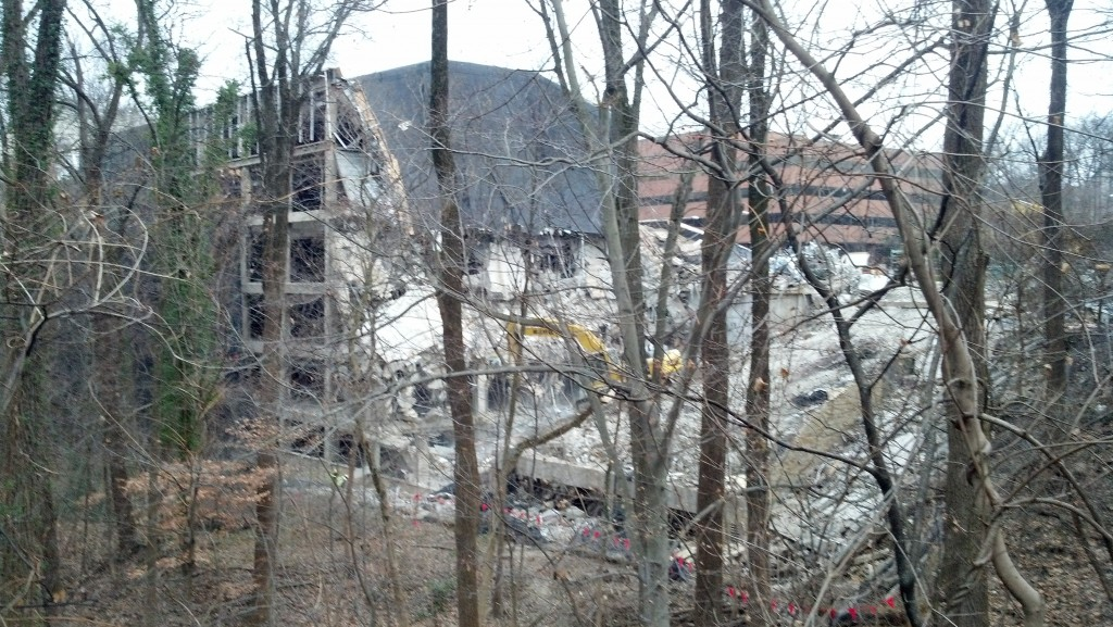 The slow demolition of the Van Ness Center on the edge of Soapstone Valley on Dec. 26, 2013.